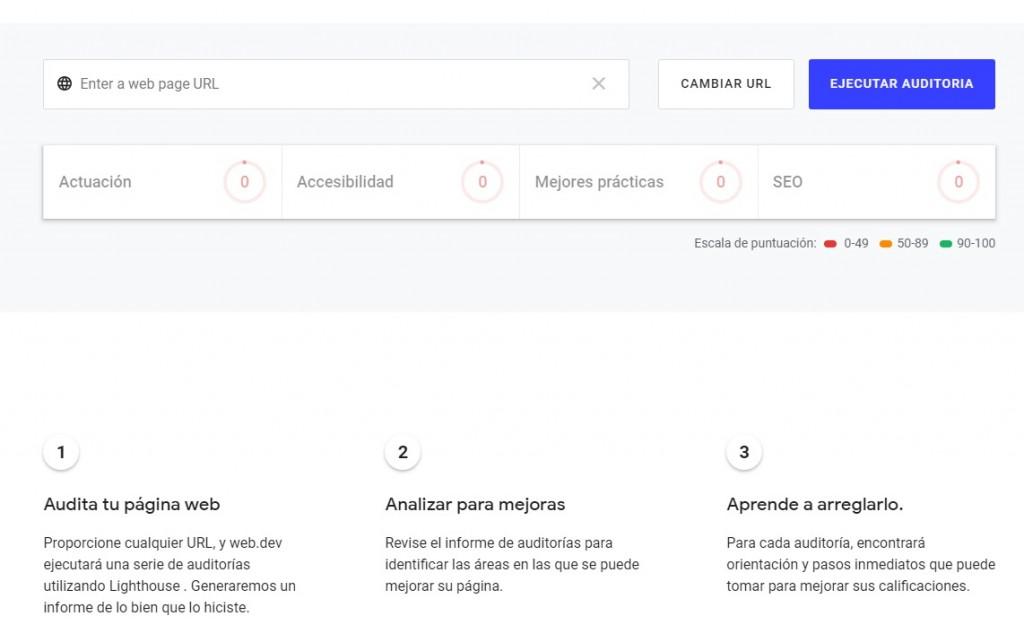 web.dev la nueva plataforma de Google auditoria link