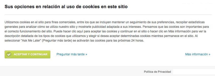 eprivacy popup cookies pantallazo